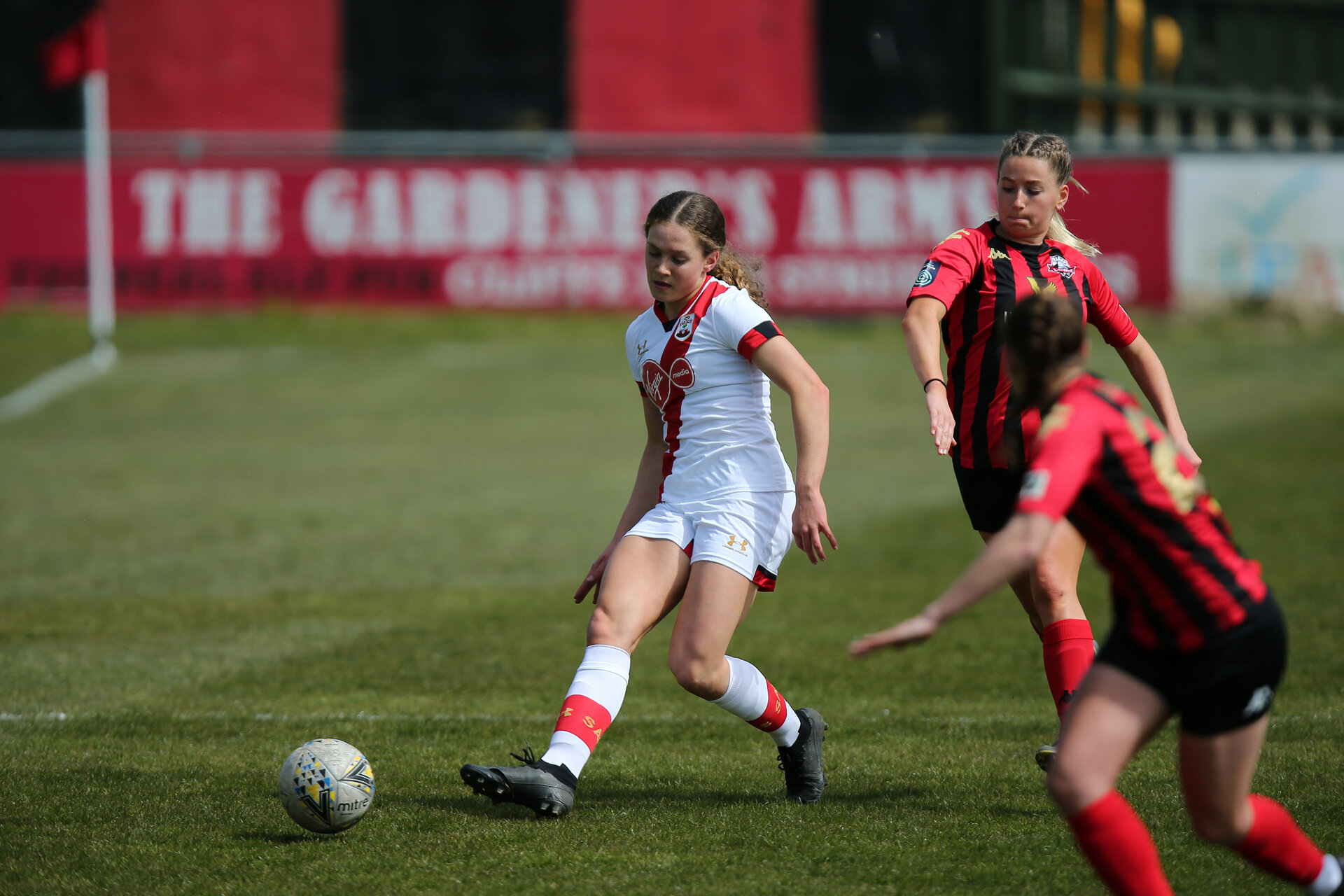 LEWES, ENGLAND - APRIL 18:  during the Women's FA Cup 4th round match between Lewes FC and Southampton at The Dripping Pan on April 18, 2021 in Lewes, United Kingdom. Sporting stadiums around the UK remain under strict restrictions due to the Coronavirus pandemic as UK government social distancing laws prohibit fans inside venues resulting in games being played behind closed doors. (Photo by Chris Moorhouse/Southampton FC via Getty Images)