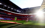 LONDON, ENGLAND - APRIL 18: during the Semi Final of the Emirates FA Cup match between Leicester City and Southampton FC at Wembley Stadium on April 18, 2021 in London, England. 4000 local residents have been permitted to attend the match as part of the government's Events Research Programme, which will study how to safely hold major events once coronavirus lockdown measures are eased. Other sporting events around the United Kingdom continue to be played behind closed doors. (Photo by Matt Watson/Southampton FC via Getty Images)