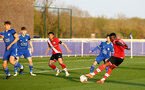 LEICESTER, ENGLAND - APRIL 19: Kazeem Olaigbe (R)of Southampton during the Premier League 2 match between Leicester City and Southampton B Team at the Leicester City Training Ground on April 19, 2021 in Leicester, England.  (Photo by Isabelle Field/Southampton FC via Getty Images)
