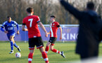 LEICESTER, ENGLAND - APRIL 19: James Morris (R) of Southampton during the Premier League 2 match between Leicester City and Southampton B Team at the Leicester City Training Ground on April 19, 2021 in Leicester, England.  (Photo by Isabelle Field/Southampton FC via Getty Images)