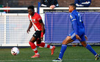 LEICESTER, ENGLAND - APRIL 19: Kazeem Olaigbe (L) of Southampton during the Premier League 2 match between Leicester City and Southampton B Team at the Leicester City Training Ground on April 19, 2021 in Leicester, England.  (Photo by Isabelle Field/Southampton FC via Getty Images)