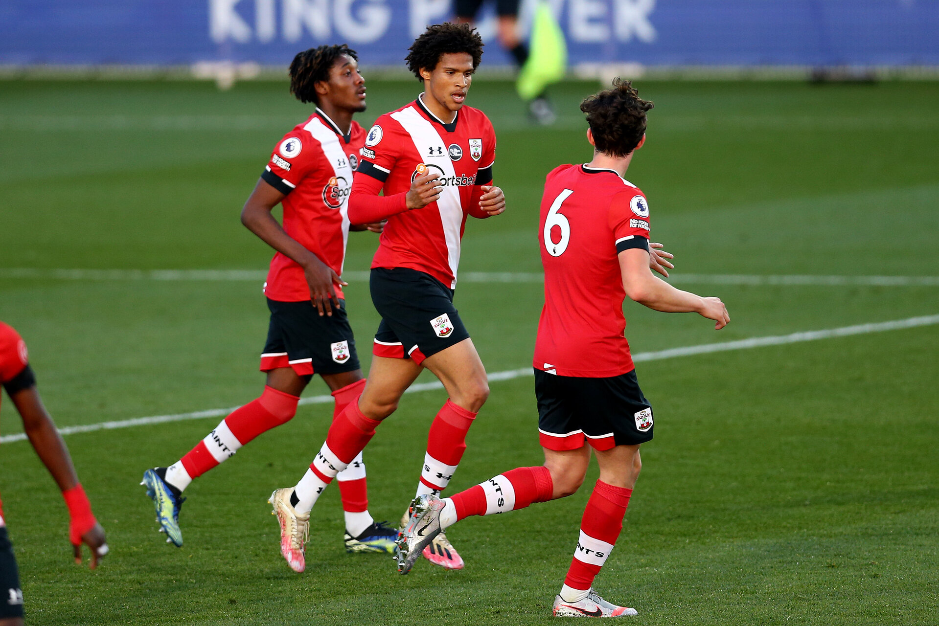 LEICESTER, ENGLAND - APRIL 19: Oludare Olufunwa of Southampton celebrates scoring with his team mated during the Premier League 2 match between Leicester City and Southampton B Team at the Leicester City Training Ground on April 19, 2021 in Leicester, England.  (Photo by Isabelle Field/Southampton FC via Getty Images)