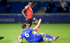 LEICESTER, ENGLAND - APRIL 19: Kazeem Olaigbe of Southampton during the Premier League 2 match between Leicester City and Southampton B Team at the Leicester City Training Ground on April 19, 2021 in Leicester, England.  (Photo by Isabelle Field/Southampton FC via Getty Images)