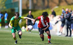 SOUTHAMPTON, ENGLAND - APRIL 24: Josh Lett (L) of Southampton during the Premier League U18s match between Southampton U18 and West Bromwich Albion at Staplewood Campus on April 24, 2021 in Southampton, England. (Photo by Isabelle Field/Southampton FC via Getty Images)
