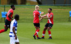 READING, ENGLAND - APRIL 27: Jem Hewlett (5) of Southampton celebrates opening the scoring with team mate Kaya Tshaka (R) of Southampton during the Premier League U18s match between Reading and Southampton U18s at Bearwood Park Training Ground on April 27, 2021 in Reading, England. (Photo by Isabelle Field/Southampton FC via Getty Images)