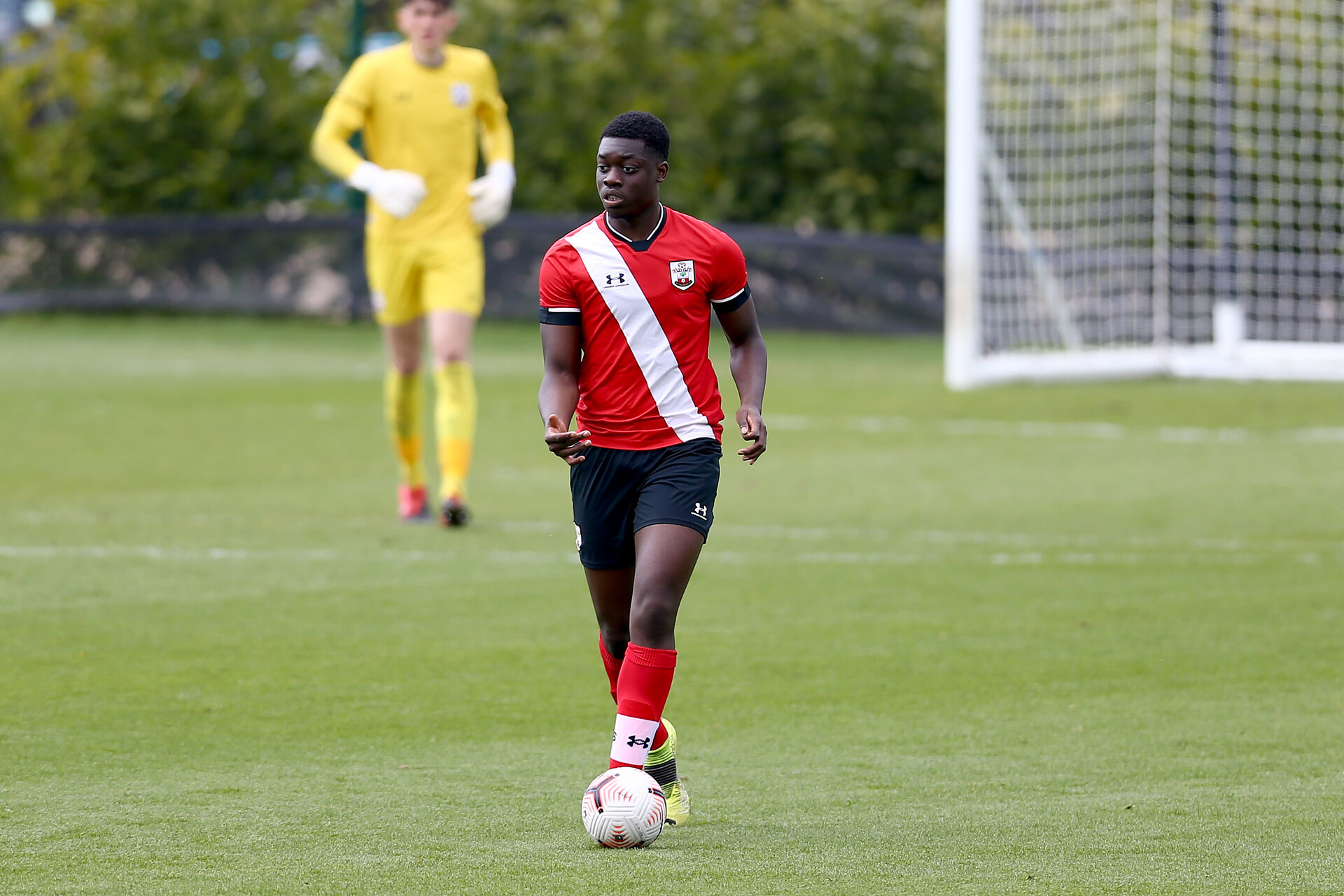 READING, ENGLAND - APRIL 27: Leon Pambou of Southampton during the Premier League U18s match between Reading and Southampton U18s at Bearwood Park Training Ground on April 27, 2021 in Reading, England. (Photo by Isabelle Field/Southampton FC via Getty Images)