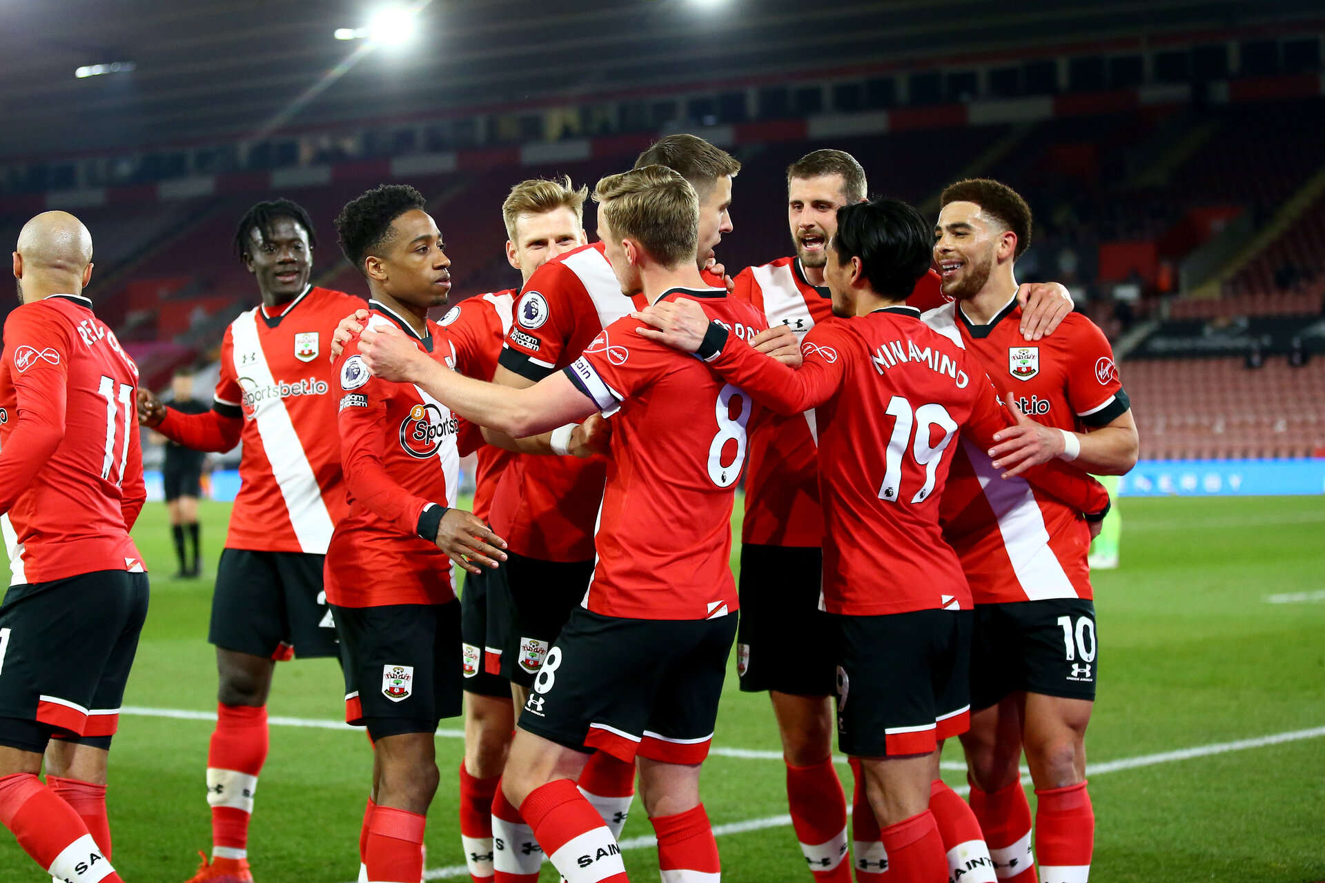SOUTHAMPTON, ENGLAND - APRIL 30:  during the Premier League match between Southampton and Leicester City at St Mary's Stadium on April 30, 2021 in Southampton, England. Sporting stadiums around the UK remain under strict restrictions due to the Coronavirus Pandemic as Government social distancing laws prohibit fans inside venues resulting in games being played behind closed doors.  (Photo by Isabelle Field/Southampton FC via Getty Images)
