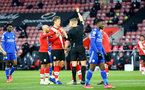 SOUTHAMPTON, ENGLAND - APRIL 30: Jannik Vestergaard of Southampton shown a red card in the first half during the Premier League match between Southampton and Leicester City at St Mary's Stadium on April 30, 2021 in Southampton, England. Sporting stadiums around the UK remain under strict restrictions due to the Coronavirus Pandemic as Government social distancing laws prohibit fans inside venues resulting in games being played behind closed doors.  (Photo by Isabelle Field/Southampton FC via Getty Images)