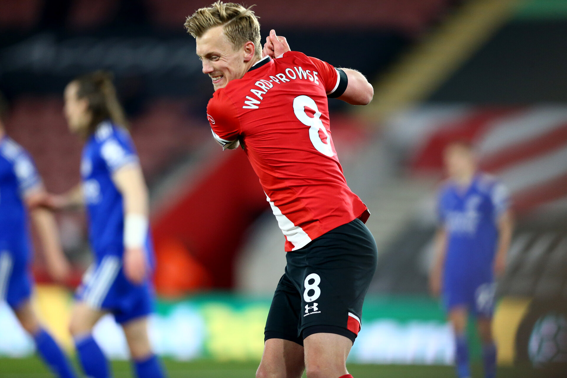SOUTHAMPTON, ENGLAND - APRIL 30: James Ward-Prowse of Southampton goal celebration during the Premier League match between Southampton and Leicester City at St Mary's Stadium on April 30, 2021 in Southampton, England. Sporting stadiums around the UK remain under strict restrictions due to the Coronavirus Pandemic as Government social distancing laws prohibit fans inside venues resulting in games being played behind closed doors.  (Photo by Isabelle Field/Southampton FC via Getty Images)
