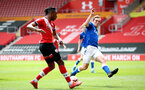SOUTHAMPTON, ENGLAND - MAY 02: Dan N'Lundulu (L) of Southampton during the Premier League 2 match between Southampton B Team and Everton at the St Mayr's Stadium on May 02, 2021 in Southampton, England.  (Photo by Isabelle Field/Southampton FC via Getty Images)