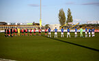 SOUTHPORT, ENGLAND - MAY 07: Southampton and Everton players take part in a minute silence in memory of Alan McLoughlin ahead of the Premier League 2 match between Everton and Southampton B Team at the The Pure Stadium on May 07, 2021 in Southport, England.  (Photo by Isabelle Field/Southampton FC via Getty Images)