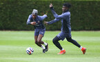 SOUTHAMPTON, ENGLAND - MAY 13: Moussa Djenepo(L) and Mohammed Salisu during a Southampton FC training session at the Staplewood Campus on May 13, 2021 in Southampton, England. (Photo by Matt Watson/Southampton FC via Getty Images)