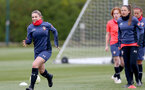 SOUTHAMPTON, ENGLAND - MAY 12: Georgie Freeland(L) during Southampton Women's training session at Staplewood Training Ground on May 12, 2021 in Southampton, England.  (Photo by Isabelle Field/Southampton FC via Getty Images)