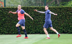 SOUTHAMPTON, ENGLAND - MAY 17: Oriol Romeu(L) and Danny Ings during a Southampton FC training session at the Staplewood Campus on May 17, 2021 in Southampton, England. (Photo by Matt Watson/Southampton FC via Getty Images)
