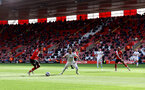 SOUTHAMPTON, ENGLAND - MAY 18: Kyle Walker-Peters(L) of during the Premier League match between Southampton and Leeds United at St Mary's Stadium on May 18, 2021 in Southampton, England. (Photo by Matt Watson/Southampton FC via Getty Images)