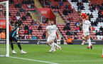 SOUTHAMPTON, ENGLAND - MAY 18: Jack Stephens of Southampton heads at goal during the Premier League match between Southampton and Leeds United at St Mary's Stadium on May 18, 2021 in Southampton, England. (Photo by Matt Watson/Southampton FC via Getty Images)