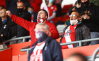 SOUTHAMPTON, ENGLAND - MAY 18: Saints fans during the Premier League match between Southampton and Leeds United at St Mary's Stadium on May 18, 2021 in Southampton, England. (Photo by Matt Watson/Southampton FC via Getty Images)