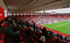 SOUTHAMPTON, ENGLAND - MAY 18: General view of St Mary's Stadium during the Premier League match between Southampton and Leeds United at St Mary's Stadium on May 18, 2021 in Southampton, England. (Photo by Isabelle Field/Southampton FC via Getty Images)