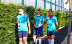 SOUTHAMPTON, ENGLAND - July 01: Kirsty Whitton(L), Shannon Sievwright and Shelly Provan (R) during Southampton women's first pre season training session at Staplewood training ground on July 01, 2021 in Southampton, England. (Photo by Isabelle Field/Southampton FC via Getty Images)