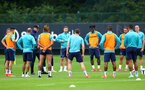 SOUTHAMPTON, ENGLAND - JULY 08: Southampton manager Ralph Hasenhüttl speaks to his players during a Southampton FC pre season training session at the Staplewood Campus on July 08, 2021 in Southampton, England. (Photo by Matt Watson/Southampton FC via Getty Images)
