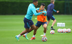 SOUTHAMPTON, ENGLAND - JULY 08: Yan Valery(L) and Mohamed Elyounoussi during a Southampton FC pre season training session at the Staplewood Campus on July 08, 2021 in Southampton, England. (Photo by Matt Watson/Southampton FC via Getty Images)