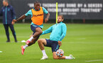 SOUTHAMPTON, ENGLAND - JULY 08: Michael Obafemi(L) and Jack Stephens during a Southampton FC pre season training session at the Staplewood Campus on July 08, 2021 in Southampton, England. (Photo by Matt Watson/Southampton FC via Getty Images)
