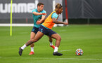 SOUTHAMPTON, ENGLAND - JULY 08: Romain Perraud(L) and Mario Lemina during a Southampton FC pre season training session at the Staplewood Campus on July 08, 2021 in Southampton, England. (Photo by Matt Watson/Southampton FC via Getty Images)