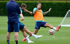 SOUTHAMPTON, ENGLAND - JULY 13: Jack Stephens(L) and Danny Ings(R) during pre-season training session at Staplewood Complex on July 13, 2021 in Southampton, England. (Photo by Isabelle Field/Southampton FC via Getty Images)
