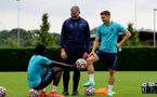 SOUTHAMPTON, ENGLAND - JULY 13: Mohammed Salisu(L) and Romain Perraud(R)during pre-season training session at Staplewood Complex on July 13, 2021 in Southampton, England. (Photo by Isabelle Field/Southampton FC via Getty Images)