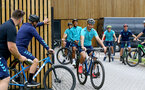 SOUTHAMPTON, ENGLAND - JULY 15: Shane Long (center) during team building cycle ride around Deerleap, New Forest on July 15, 2021 in Southampton, England. (Photo by Isabelle Field/Southampton FC via Getty Images)