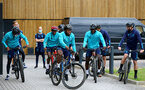 SOUTHAMPTON, ENGLAND - JULY 15: Michael Obafemi (center) during team building cycle ride around Deerleap, New Forest on July 15, 2021 in Southampton, England. (Photo by Isabelle Field/Southampton FC via Getty Images)