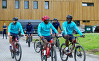 SOUTHAMPTON, ENGLAND - JULY 15: Sam McQueen(L), Moussa Djenepo and Mohammed Salisu(R) during team building cycle ride around Deerleap, New Forest on July 15, 2021 in Southampton, England. (Photo by Isabelle Field/Southampton FC via Getty Images)