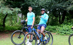SOUTHAMPTON, ENGLAND - JULY 15: Jack Stephens(L) and Michael Obafemi(R) during team building cycle ride around Deerleap, New Forest on July 15, 2021 in Southampton, England. (Photo by Isabelle Field/Southampton FC via Getty Images)
