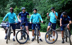 SOUTHAMPTON, ENGLAND - JULY 15: Idrahima Diallo(L), Romain Perraud and Oriol Romeu(R) during team building cycle ride around Deerleap, New Forest on July 15, 2021 in Southampton, England. (Photo by Isabelle Field/Southampton FC via Getty Images)
