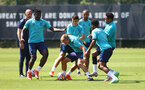 SOUTHAMPTON, ENGLAND - JULY 19: L to R Mohammed Salisu, Mohamed Elyounoussi, James Ward-Prowse, Theo Walcott, Nathan Tella and Kyle Walker-Peters during a Southampton FC pre season training session at the Staplewood Campus on July 19, 2021 in Southampton, England. (Photo by Matt Watson/Southampton FC via Getty Images)