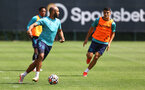 SOUTHAMPTON, ENGLAND - JULY 19: Nathan Redmond(L) and Mohamed Elyounoussi during a Southampton FC pre season training session at the Staplewood Campus on July 19, 2021 in Southampton, England. (Photo by Matt Watson/Southampton FC via Getty Images)