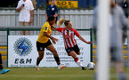 SOUTHAMPTON, ENGLAND - July 20: Shelly Provan(R) of Southampton during per-season friendly between Saints Women and Southampton Women Development team at The Snows Stadium on July 20, 2021 in Southampton, England. (Photo by Isabelle Field/Southampton FC via Getty Images)