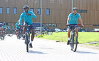 SOUTHAMPTON, ENGLAND - JULY 21: Mohammed Salisu(L) and Mohamed Elyounoussi during a pre season day of cycling around The New forest, July 21, 2021 in Southampton, England. (Photo by Matt Watson/Southampton FC via Getty Images)
