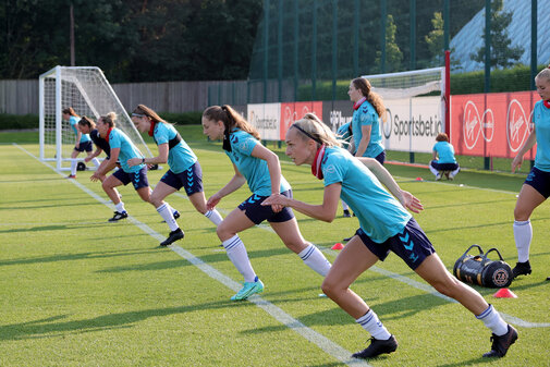 SOUTHAMPTON, ENGLAND - July 21: Southampton players during Southampton Women's pre-season training at Staplewood Training Ground on July 21, 2021 in Southampton, England. (Photo by Isabelle Field/Southampton FC via Getty Images)