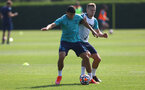 SOUTHAMPTON, ENGLAND - JULY 22: Mohamed Elyounoussi(L) and James Ward-Prowse during a Southampton FC pre season training session at The Staplewood Campus on July 22, 2021 in Southampton, England. Photo by Matt Watson/Southampton FC via Getty Images