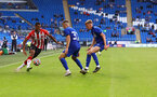 CARDIFF, WALES - JULY 27: Yan Valery(L) of Southampton during the Pre-Season Friendly match between Cardiff City and Southampton at Cardiff City Stadium on July 27, 2021 in Cardiff, Wales. Photo by Matt Watson/Southampton FC via Getty Images