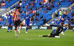 CARDIFF, WALES - JULY 27: Che Adams of Southampton scores during the Pre-Season Friendly match between Cardiff City and Southampton at Cardiff City Stadium on July 27, 2021 in Cardiff, Wales. Photo by Matt Watson/Southampton FC via Getty Images