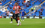 CARDIFF, WALES - JULY 27: Che Adams of Southampton after scoring during the Pre-Season Friendly match between Cardiff City and Southampton at Cardiff City Stadium on July 27, 2021 in Cardiff, Wales. Photo by Matt Watson/Southampton FC via Getty Images