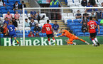 CARDIFF, WALES - JULY 27: Fraser Forster of Southampton saves during the Pre-Season Friendly match between Cardiff City and Southampton at Cardiff City Stadium on July 27, 2021 in Cardiff, Wales. Photo by Matt Watson/Southampton FC via Getty Images