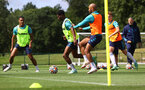 CARDIFF, WALES - JULY 29: Kyle Walker-Peters(L) and Nathan Redmond during a Southampton FC pre season training session at the Vale Resort, Vale of Glamorgan on July 29, 2021 in Cardiff, Wales. (Photo by Matt Watson/Southampton FC via Getty Images)