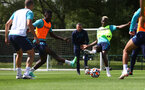CARDIFF, WALES - JULY 29: Moussa Djenepo(R) during a Southampton FC pre season training session at the Vale Resort, Vale of Glamorgan on July 29, 2021 in Cardiff, Wales. (Photo by Matt Watson/Southampton FC via Getty Images)