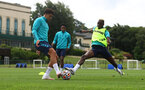 CARDIFF, WALES - JULY 29: Che Adams(L) and Moussa Djenepo during a Southampton FC pre season training session at the Vale Resort, Vale of Glamorgan on July 29, 2021 in Cardiff, Wales. (Photo by Matt Watson/Southampton FC via Getty Images)