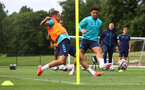 CARDIFF, WALES - JULY 29: Danny Ings(L) and Che Adams during a Southampton FC pre season training session at the Vale Resort, Vale of Glamorgan on July 29, 2021 in Cardiff, Wales. (Photo by Matt Watson/Southampton FC via Getty Images)