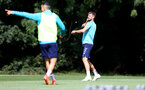 CARDIFF, WALES - JULY 29: Jack Stephens throws to Nathan Tella during a warm up exercise during a Southampton FC pre season training session at the Vale Resort, Vale of Glamorgan on July 29, 2021 in Cardiff, Wales. (Photo by Matt Watson/Southampton FC via Getty Images)
