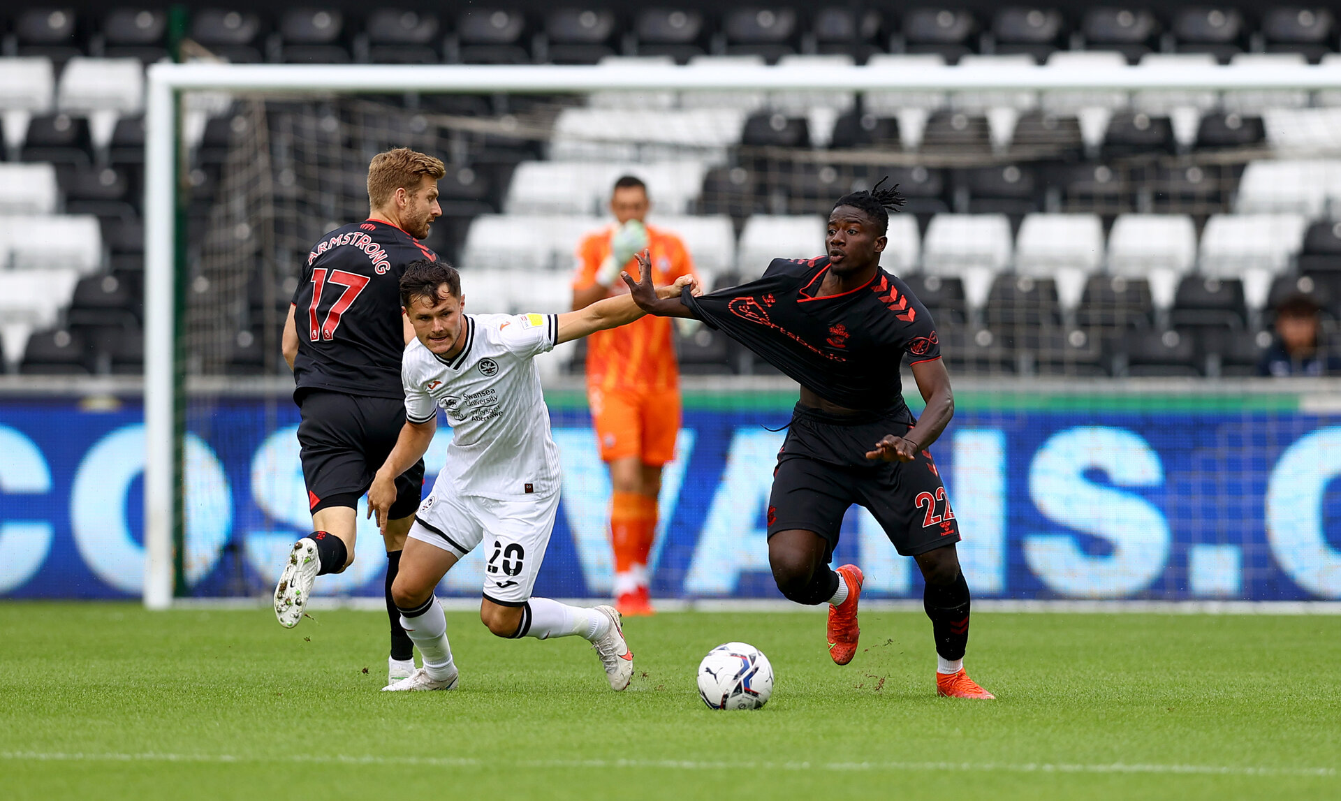 SWANSEA, WALES - JULY 31: Mohammed Salisu(R) of Southampton during the pre-season friendly match between Swansea City and Southampton FC, at The Liberty Stadium on July 31, 2021 in Swansea, Wales. (Photo by Matt Watson/Southampton FC via Getty Images)